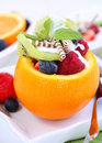 Orange filled with fruits Royalty Free Stock Photo