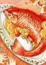 Orange fish dinner for two illustration Royalty Free Stock Photo