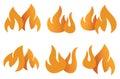 Orange Flame Symbols Vector Illustration