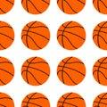 stock image of  Orange flat basketball ball, vector illustration isolated on white background. Seamless pattern.