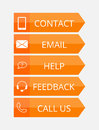 Orange flat contact buttons with icons illustration Royalty Free Stock Photo
