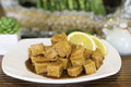 Orange flavored tofu in chinese restaurant Royalty Free Stock Photos