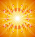 Orange floral background with ornament Royalty Free Stock Photo