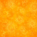 Orange floral bright vector seamless pattern Stock Images