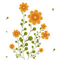 Orange flowers on curling stems abstract vector illustration Royalty Free Stock Image