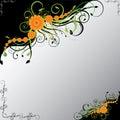 Orange Flowers With Green Swirls