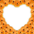Orange flowers heart pattern Stock Images