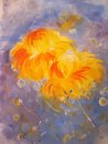 Orange flowers on purple background painting. Royalty Free Stock Photo