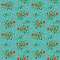 Orange flowers with willow branches on a turquoise background