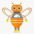 Orange Friendly Cartoon Bee Robot Character. Royalty Free Stock Photo