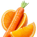 Orange fruit with carrot isolated on white background Royalty Free Stock Photo
