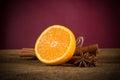 Orange fruit, cinnamon sticks and anise stars Royalty Free Stock Photo
