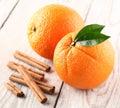 Orange fruit with cinnamon sticks Royalty Free Stock Photo