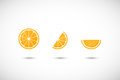 Orange fruit  flat icon set Royalty Free Stock Photo