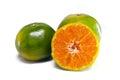 Orange fruit with half view on white background other names are les oranger sweet citrus sinensis citrus aurantium citrus maxima Royalty Free Stock Photo