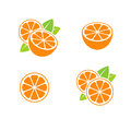 Orange fruit. Icon set. Cut oranges with leaves on white background Royalty Free Stock Photo