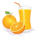 Orange fruit juice Stock Photo