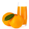 Orange fruit and juice isolated Stock Photos