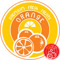 Orange fruit label isolated fruir vector Royalty Free Stock Images