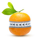 Orange fruit with measurement isolated on white Royalty Free Stock Image
