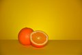 Orange fruit on orange backgroung the specifically the sweet is the of the citrus species citrus × sinensis in the family Stock Image