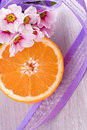 Orange fruit and pink blossom flower decoration Royalty Free Stock Photo