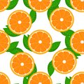 Orange fruit seamless with leaf. High detailed sliced oranges. Flat color Vector Illustration. Royalty Free Stock Photo