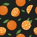 Orange fruit seamless pattern. Fresh citrus with leaf background. Vector.