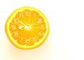 Orange fruit Slice Clock idea concept Royalty Free Stock Photo