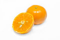 Orange fruit slice on white background Zdjęcia Stock