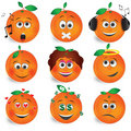 Orange fruit smile vector set 2 Royalty Free Stock Photography