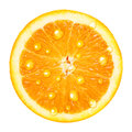 Orange fruit with water drops slice isolated on white background Stock Photo