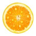 Orange fruit with water drops slice isolated on white background Stock Photo