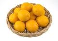 Orange fruit in wicker baskets. Royalty Free Stock Photo