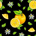 Orange fruits ripe with green leaves. Watercolor drawing. Handwork. Tropical fruit. Healthy food. Seamless pattern for design