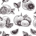 Orange fruits seamless pattern. Vintage citrus fruit, hand drawn oranges with flowers and leaves sketch tropical vector