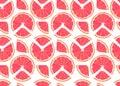 Orange fruits slice and piece seamless pattern on white background. Grapefruit citrus fruit vector