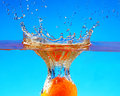 Orange fruits with Splashing water Royalty Free Stock Photo