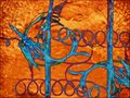 Orange fuzz, blue spirals Royalty Free Stock Photo