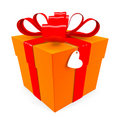 Orange Gift box with red ribbon Stock Images