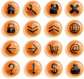 Orange glaas web icons, buttons Royalty Free Stock Images