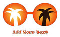 Orange glasses with palm trees Royalty Free Stock Photography