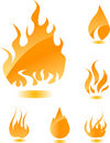 Orange glossy fire Stock Images