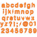 Orange glossy punk techno eighties font Royalty Free Stock Image