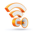 Orange glossy rss feed sign with loudspeaker d concept Stock Image