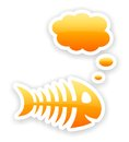 Orange glossy thinking fish bone stickers with light shadow effect Stock Photo