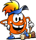 Orange Gobling with a big hammer Royalty Free Stock Image