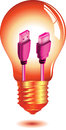 Orange and gold colored light bulb with a purple usb cable and connectors inside the glass envelope isolated on white background Royalty Free Stock Photography