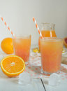 Orange and grapefruit fresh juice Royalty Free Stock Photo