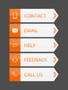 Orange and gray flat contact buttons with simple icons illustration Stock Images